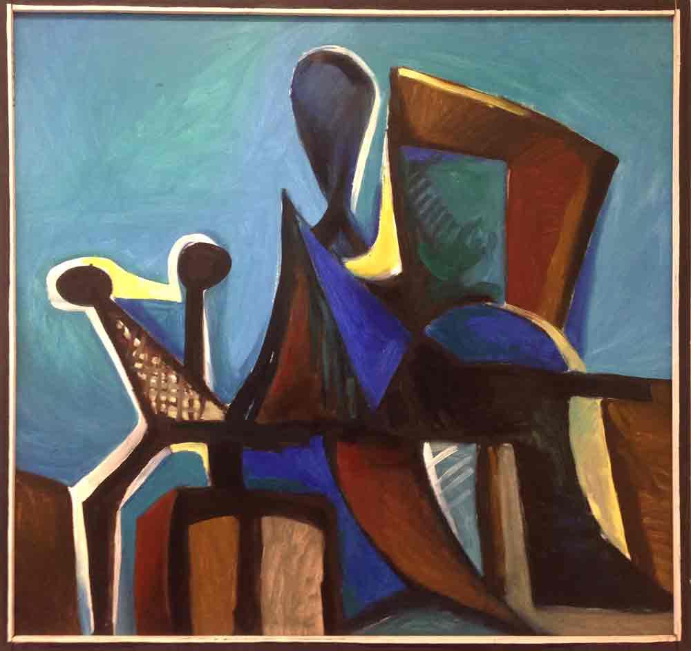Blauer Sitzender | Öl/Hartfaser | 1971 | 109 x 119 cm