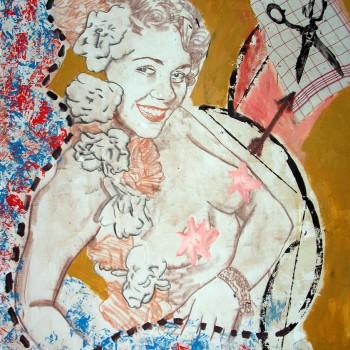 """Blumenmädchen"" Mischtechnik/LW, 130 x 110 cm, 2014"