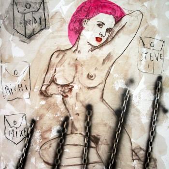 """""""Vier Taschen voll"""" Mischtechnik/LW, 130 x 110 cm. 2014"""