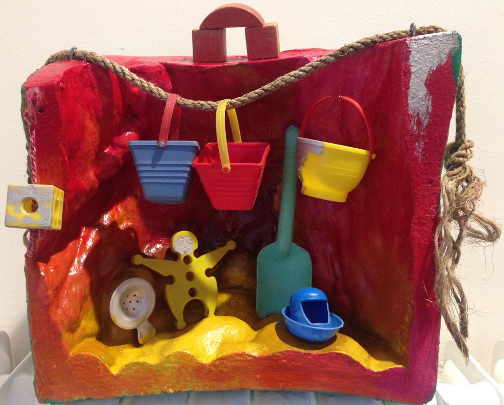 Die Arbeit - Gruppe Versuchungen - 6 Bühnenbilder | Assemblage (Purschaum, Plastputz, Fundstücke, Latexfarben) | 1985 | 38 x 38 x 19 cm