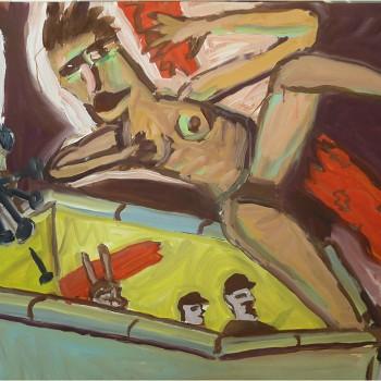 """""""Ein großer Schritt"""" Latex auf Karton, 75x108, 1989"""