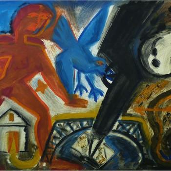 """""""Blauer Vogel Lauf"""" Leinfarbe auf Papier, 75x108, 1987"""