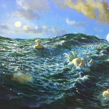 Die Frau in der Schifffahrt, 39,3 x 31,8, Acryl, 2010