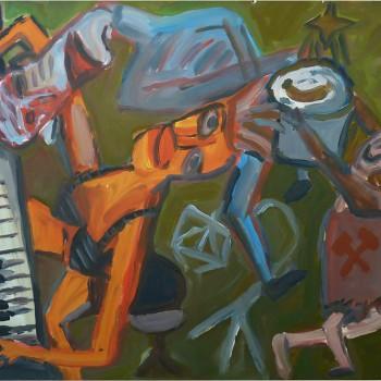 """Hausmusik"", Latex auf Karton, 78x104, 1985"