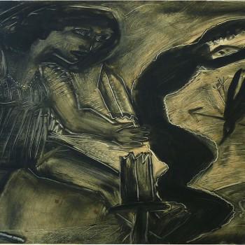 """""""Schlangenkampf"""", Leinfarbe auf Papier, 75x100, 1984"""