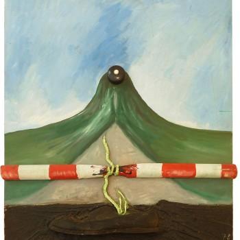 """""""Absperrung"""", Assemblage,  78x63, 1978"""