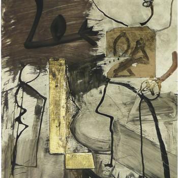 o.T., Collage mit Buchfragment auf Papier, 48x37,5, 1988