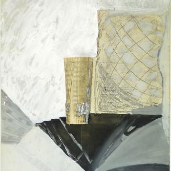 o.T., Collage mit Buchfragment auf Papier, 73x51, 1985