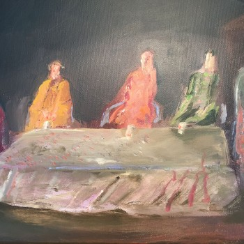 """Schweigende Gruppe"", Öl/Lw, 2012, Maß H 30cm B 40 cm"