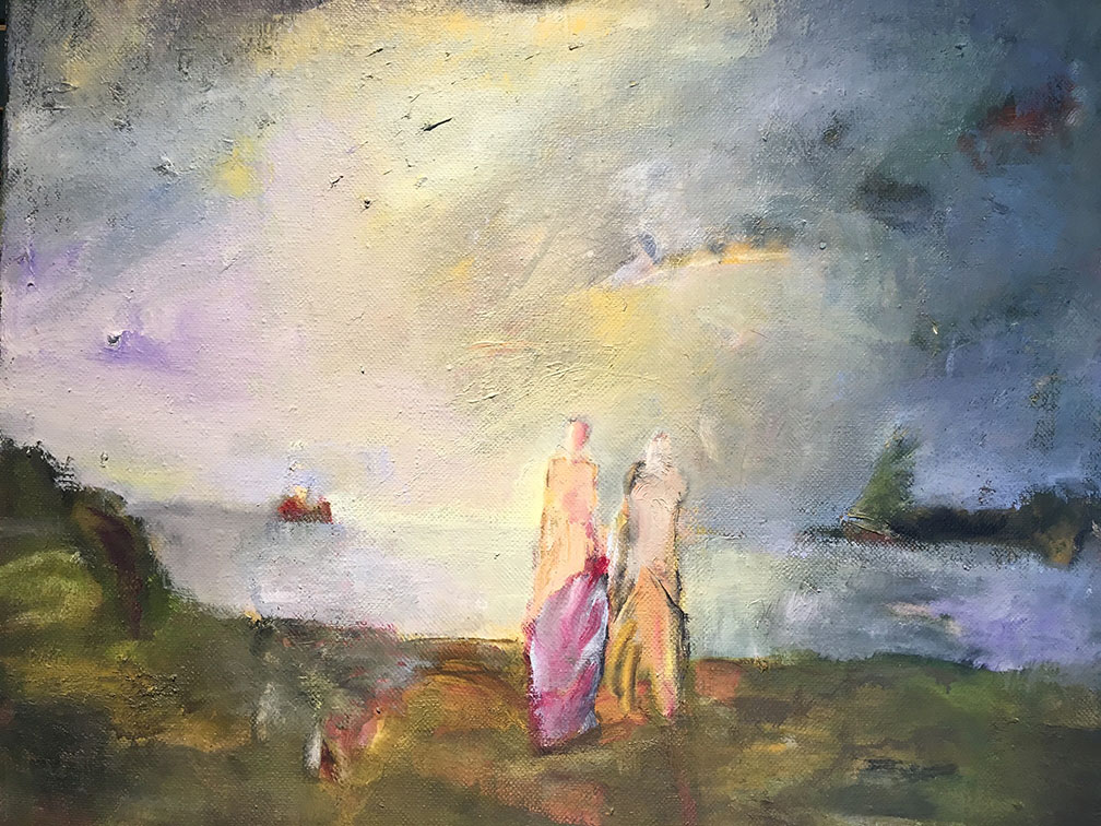 """Blick zum Strand"", Öl/Lw, 2014, Maß H 46 cm B 50 cm"