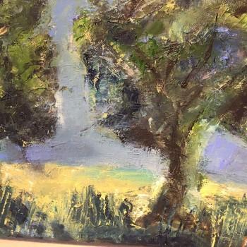 """""""2 Bäume"""", Öl/Lw, 2015, Maß H 24 cm, B 30 cm"""