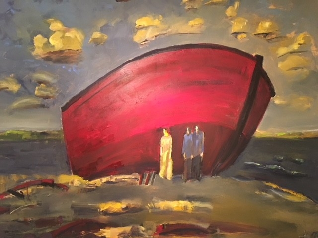 """Das rote Boot"", Öl/Lw, 2018"