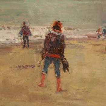 Am Strand (Frau mi Hund), Oel, Lw, 40 x 50, 2016