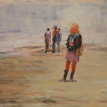 Am Strand, Öl Lw, 90 x 60, 2016