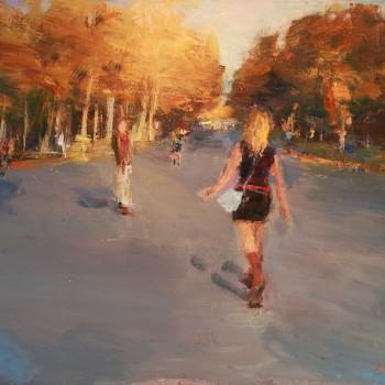 Park im Herbst, Öl, Lw, 2016, 150 x 12m