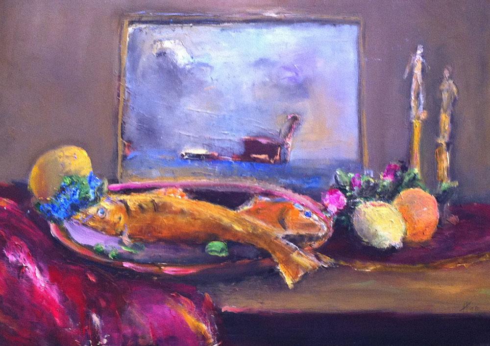 """""""Blumen mit Fisch und Meer"""", Öl/Lw, 2016, Maß H 50 cm x B 70 cm"""