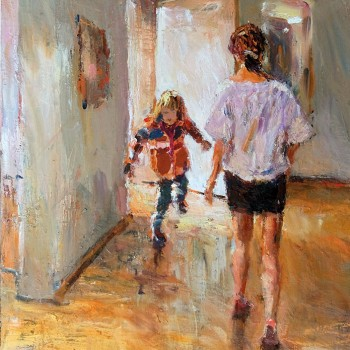 Türen (Frau und Kind)  2016                         100x70, Öl/Lw