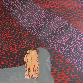 Das Paar (rot) 115 x 160, 2017, Öl/Acryl/Lw
