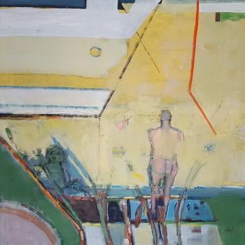"""""""Auf der Terrasse"""", Öl/Lw, 2016, H 60, B 60"""