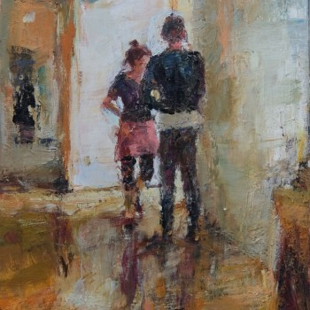 Paar an der Tür, 2015, 75x50, Öl, LW