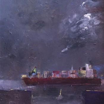 """""""Stromauf"""", Öl/Hf, 2015, Maß H 66 cm x B 57 cm"""