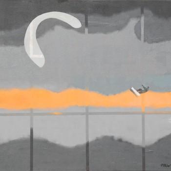 Kitesurfer (Überwindung der Gitter), 150 x 160, 2011, Öl/Acryl/Lw