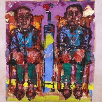Chinesinnen mit grünen Hosen, 2005, Malereicollage, 160X145cm