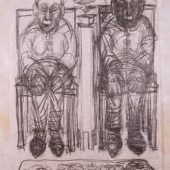 Chinesinnen: Graphitzeichnung auf Chinapapier, auf Textilgrund, 2005, 190X140cm