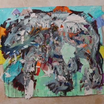Flying Carpets: Eisbär 7, 2013, Malereicollage auf Textilgrund, 130X160cm