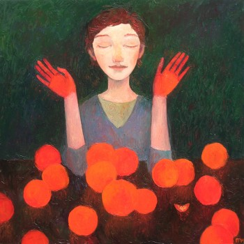 """Oranges"" - 80x80, Öl/Lw, 2014"