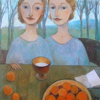 """""""Twins"""" - 70x70, Öl/Lw, 2014"""