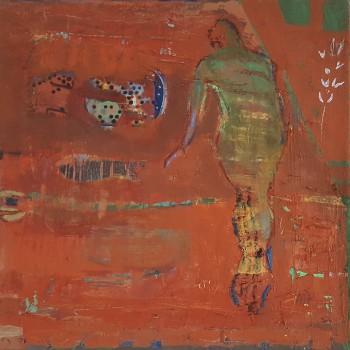 """""""Grüner Akt auf Rot"""", Öl/Lw, 2016, H 50, B 50"""